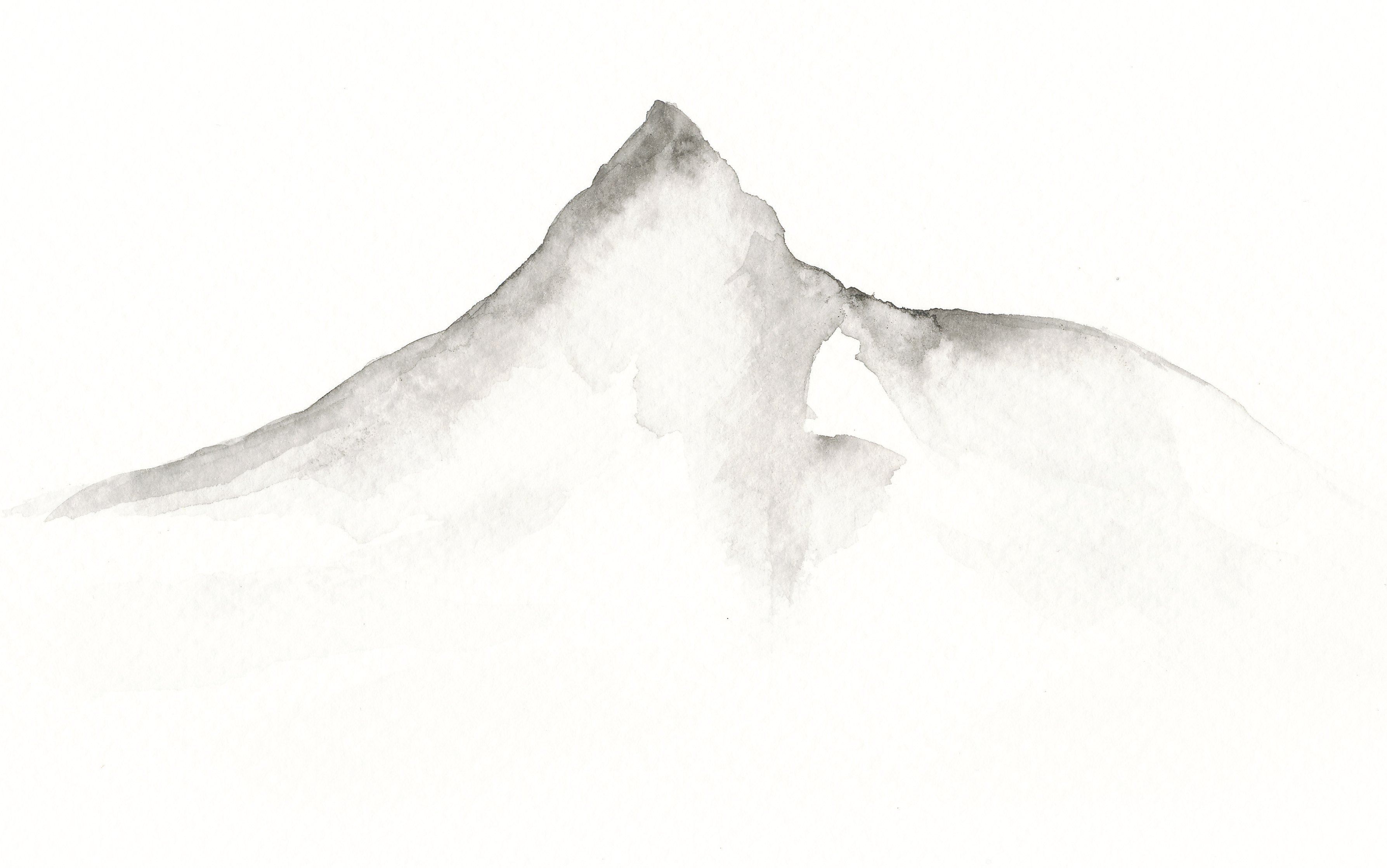 Grå akvarell av fjelltopp.
